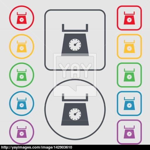 Kitchen Scales Icon Sign Symbols On The Round And Square Buttons