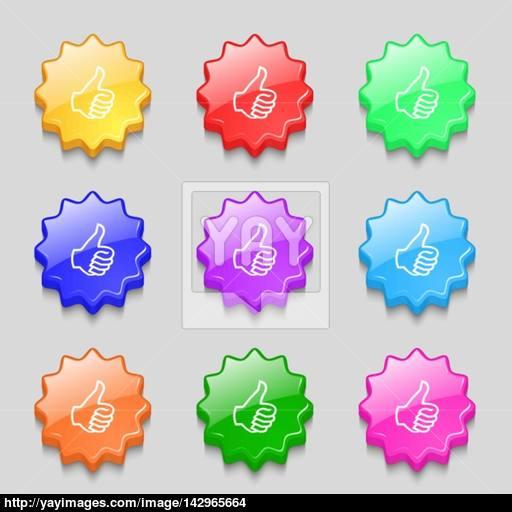 Like Sign Icon Thumb Up Symbol Hand Finger Up Symbols On Nine