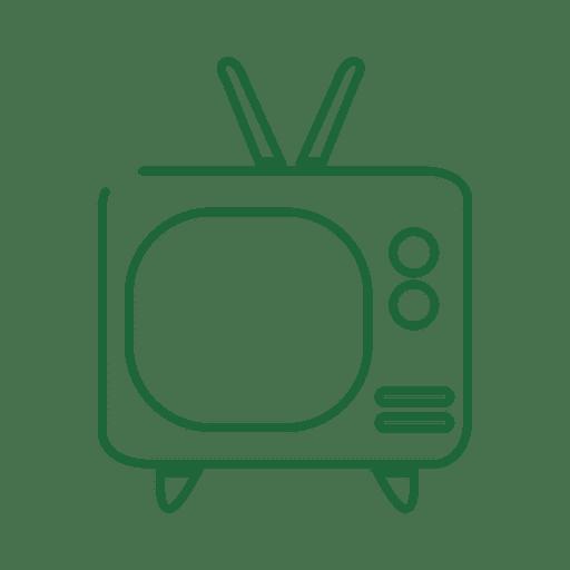 Green Tv Line Icon
