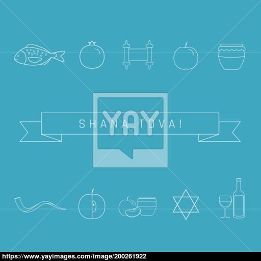 Rosh Hashanah Holiday Flat Design White Thin Line Icons Set