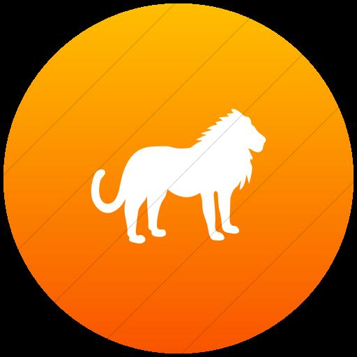 Flat Circle White On Orange Gradient Animals Lion Icon