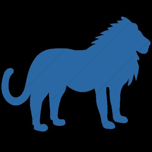 Simple Blue Animals Lion Icon