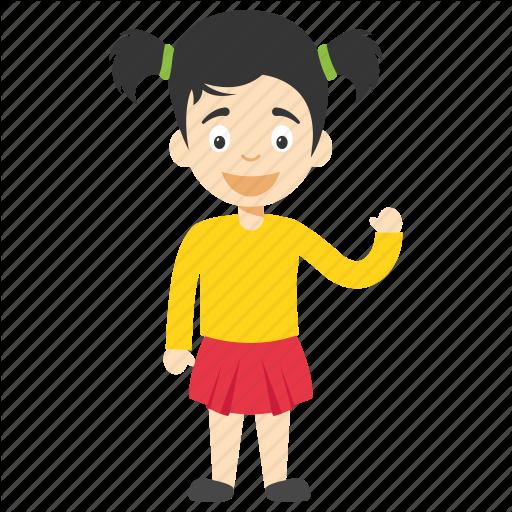 Child Waving, Cute Cartoon Girl, Cute Little Girl, Kids Cartoon