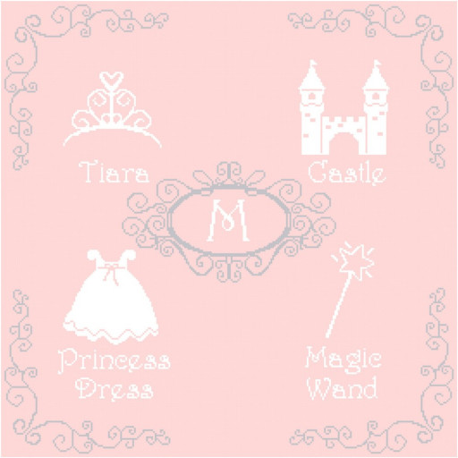 Princess Icons Wall Art With Initial Cross Stitch Pattern