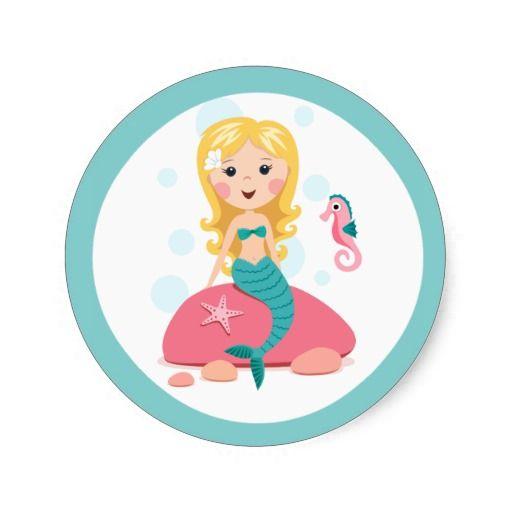 Blonde Mermaid Cartoon Girl With Starfish Seahorse Classic Round