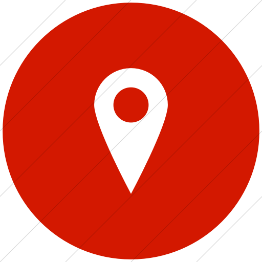 Flat Circle White On Red Raphael Location Icon
