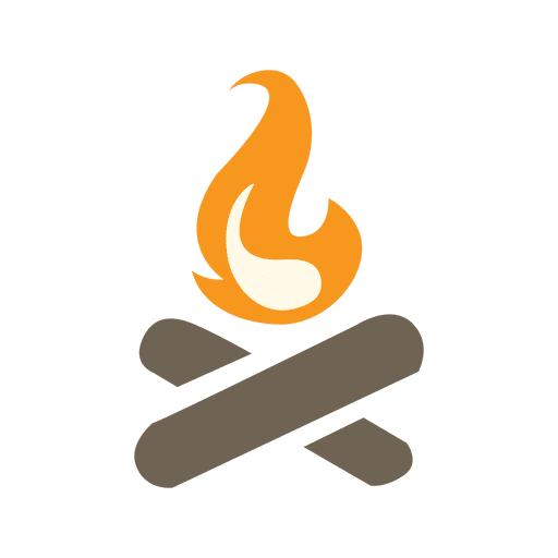 Camp Fire Icon With Wood Logs
