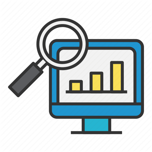Analysis, Computer, Graph, Looking Glass, Sales, Screen Icon
