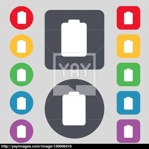 Battery Empty, Low Electricity Icon Sign A Set Of Colored
