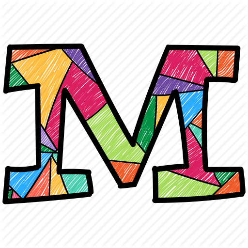 Alphabet Letter M, Capital Letter, Capital Letter M, Colored