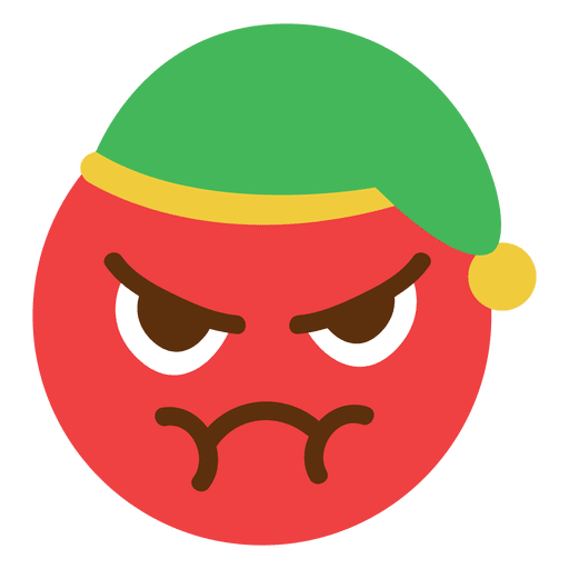 Angry Red Elf Hat Face Emoticon