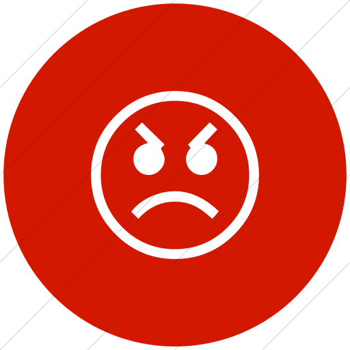 Flat Circle White On Red Classic Emoticons Angry Face Icon
