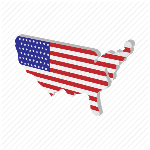 American, Cartoon, Geographic, Independence, July, Map, Usa Icon