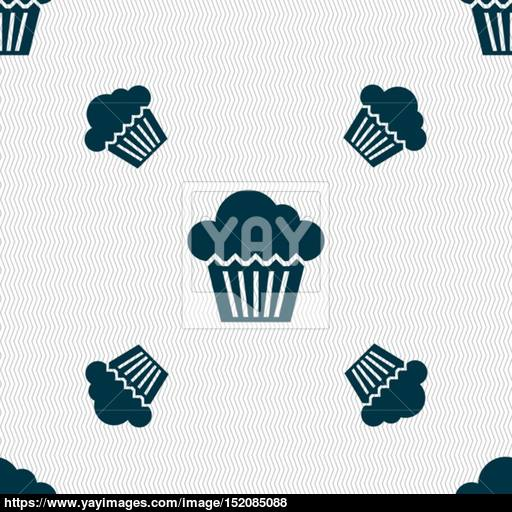Cake Icon Sign Seamless Pattern With Geometric Texture Vector