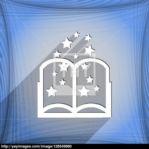Magic Book Icon Symbol Flat Modern Web Design With Long Shadow