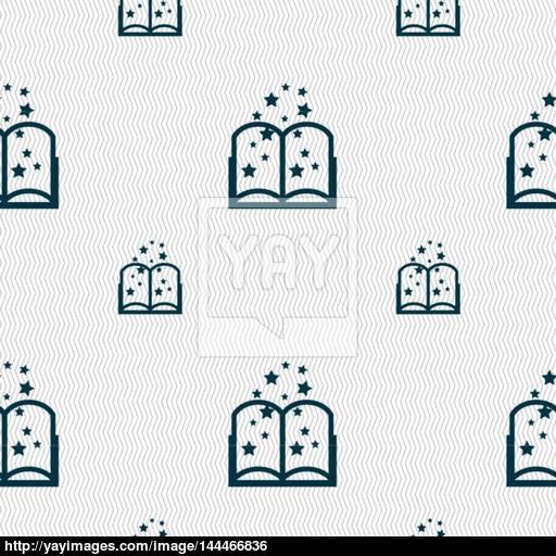 Magic Book Sign Icon Open Book Symbol Seamless Pattern