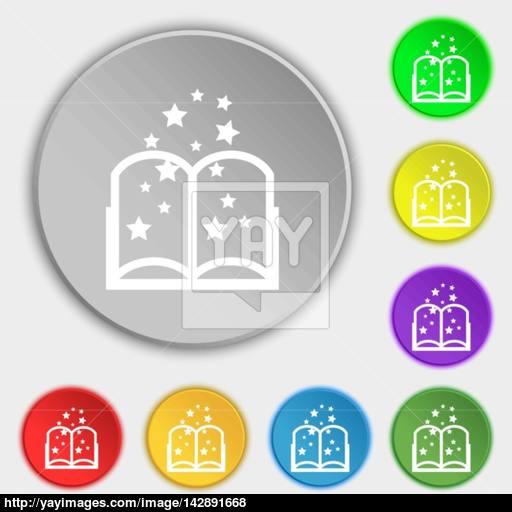 Magic Book Sign Icon Open Book Symbol Symbols On Eight Flat