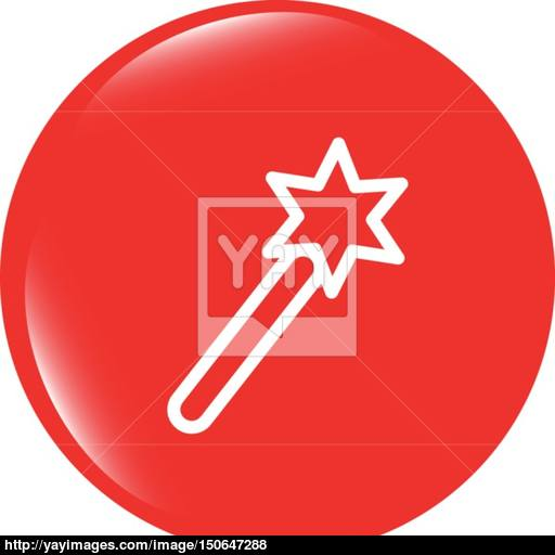 Vector Icon Magic Wand, Web Button Isolated On White Vector