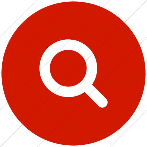 Flat Circle White On Red Bootstrap Font Awesome Search Icon