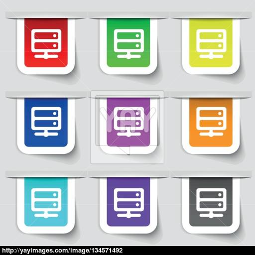 Server Icon Sign Set Of Multicolored Modern Labels For Your