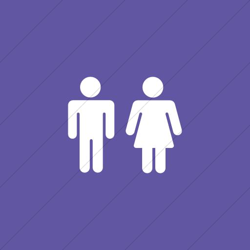 Flat Square White On Purple Foundation Male Female Icon