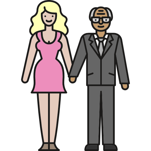 Elderly, Young Woman, Old Man, Love, Couple, People, Family Icon