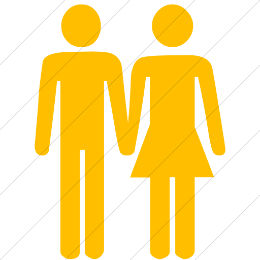 Simple Yellow Classica Man And Woman Holding Hands Icon