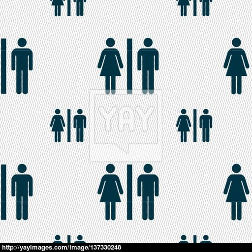 Silhouette Of A Man And A Woman Icon Sign Seamless Pattern