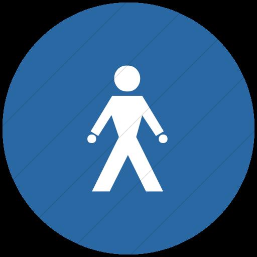 Flat Circle White On Blue Classica Walking Man Icon