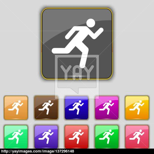 Running Man Icon Sign Set With Eleven Colored Buttons For Your