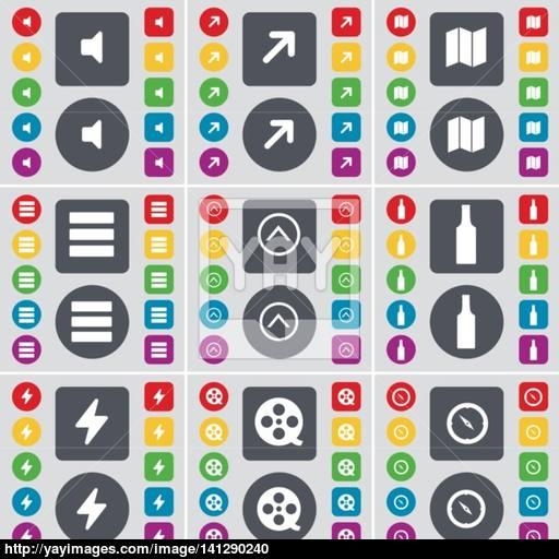 Sound, Full Screen, Map, App, Arrow Up, Bottle, Flash, Videotape