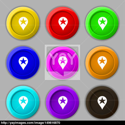 Map Pointer Award, Gps Location Icon Sign Symbol On Nine Round