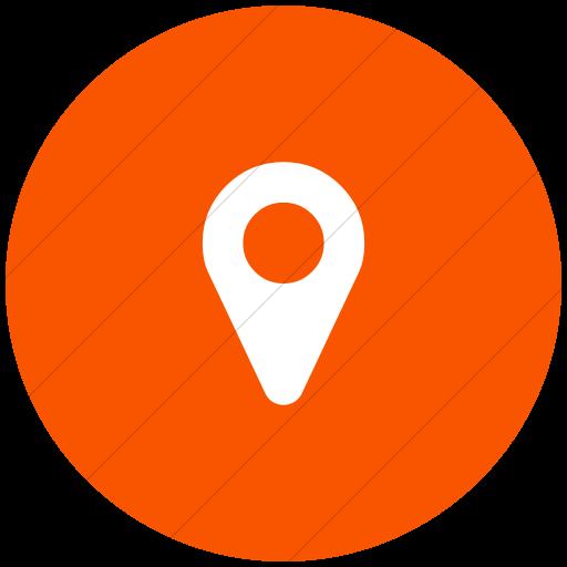 Flat Circle White On Orange Bootstrap Font Awesome Map