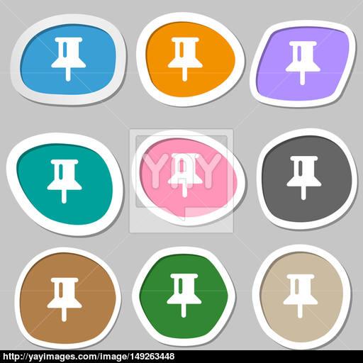 Map Pointer, Gps Location Icon Symbols Multicolored Paper