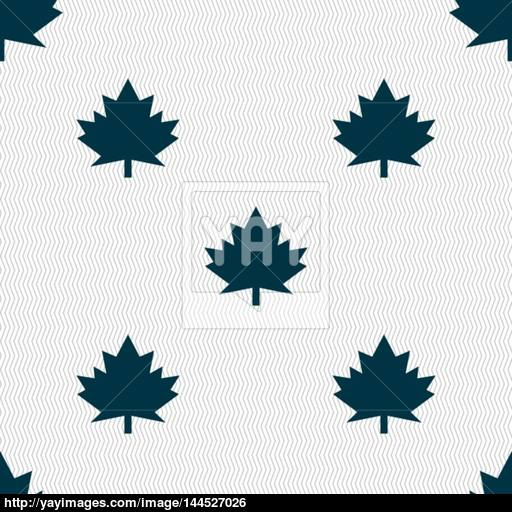 Maple Leaf Icon Seamless Abstract Background With Geometric
