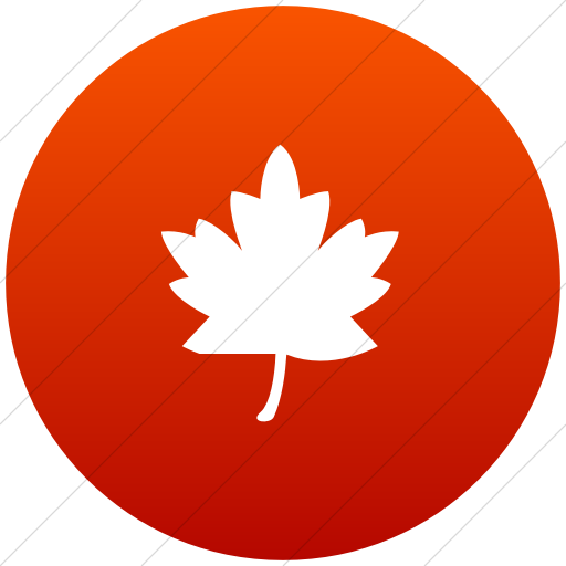 Flat Circle White On Red Gradient Classica Maple Leaf