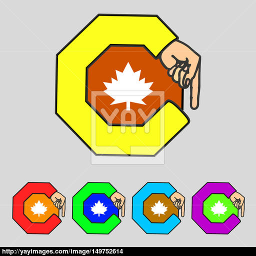 Maple Leaf Icon Set Colourful Buttons Image