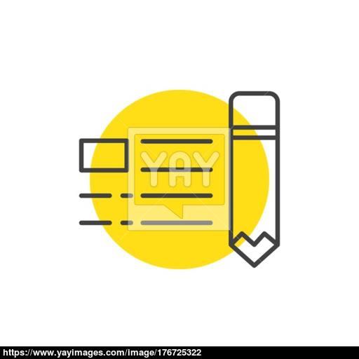 Write Advertisement, Marketing Icons Yellow Mark Vector