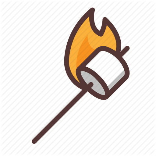 Burning, Camping, Marshmallow, Outdoors, Smores Icon