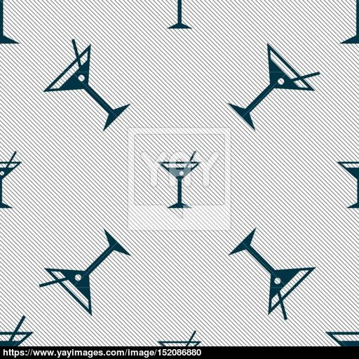 Cocktail Martini, Alcohol Drink Icon Sign Seamless Pattern