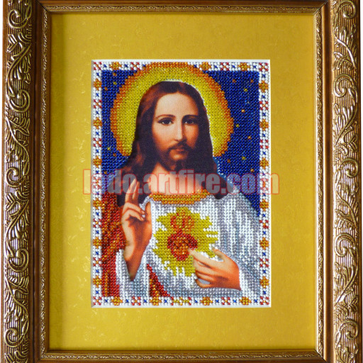 Sacred Heart Of Jesus Bead Embroidered Icon Religious Picture