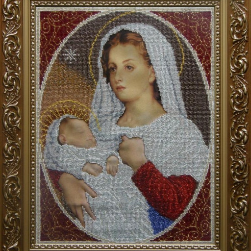 Virgin Mary And Child Grace Religious Beaded Embroidery Beading