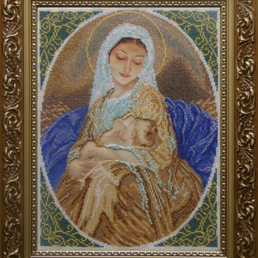 Virgin Mary And Child Tenderness Religious Beaded Embroidery Diy