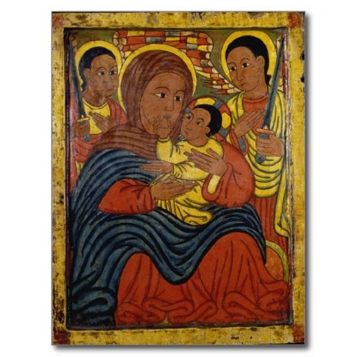 Ethiopian Black Madonna With Christ Child Postcard Madonna