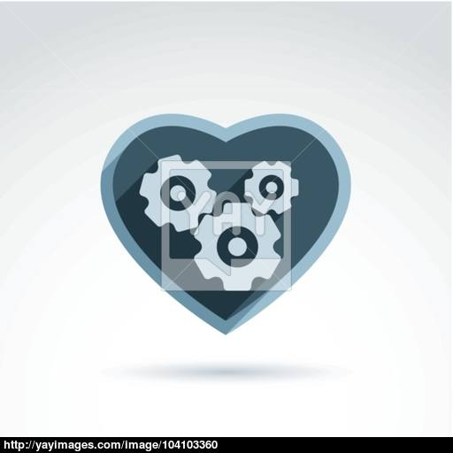 Vector Illustration Of A Mechanical Heart Love Machine Icon Ge
