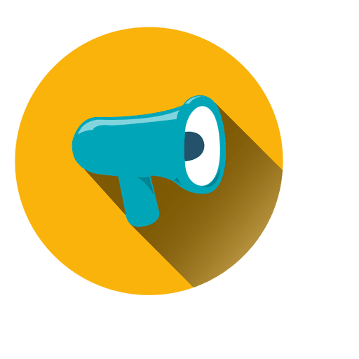 Megaphone Circle Icon Yellow And Blue