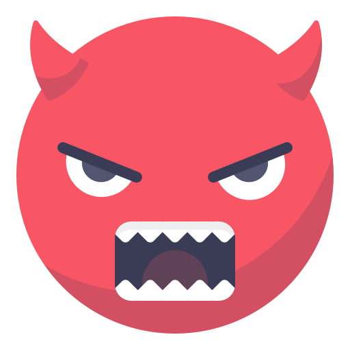 Angry, Face, Smiley, Smile, Grin, Devil, Evil Icon