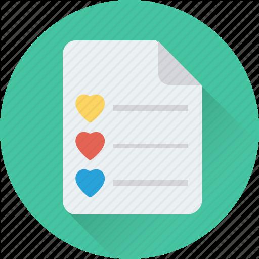 Checklist, Hearts, List, Love, Memo Icon