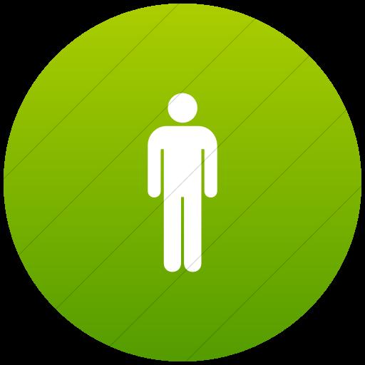 Flat Circle White On Green Gradient Aiga Toilets Men Icon