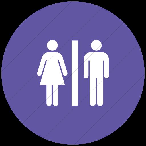 Flat Circle White On Purple Aiga Toilets Icon